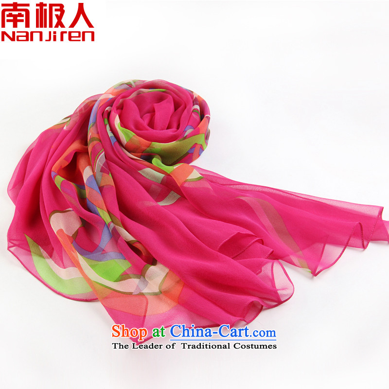 Antarctic people new spring and autumn 2015 Korean Version Stamp herbs extract silk scarves in red