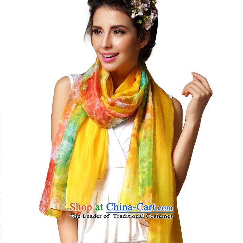 Harper Angel new stylish Korean chiffon fourth quarter scarf female shawl silk scarf two high long spring and autumn silk scarf Ms. wild spring scarf drawings Turmeric