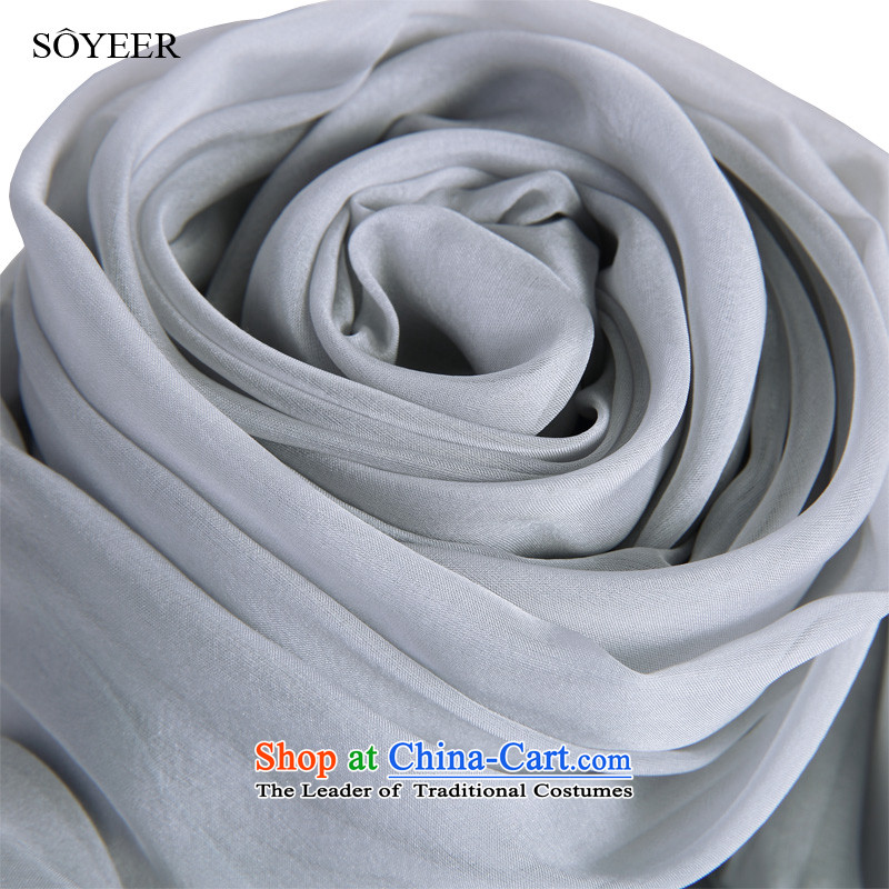 In spring and autumn SOYEER silk scarf upscale silk scarves temperament Light Gray Silk Scarf of Foday Sankoh Solid Color silk scarf light gray recommended size 200_130cm