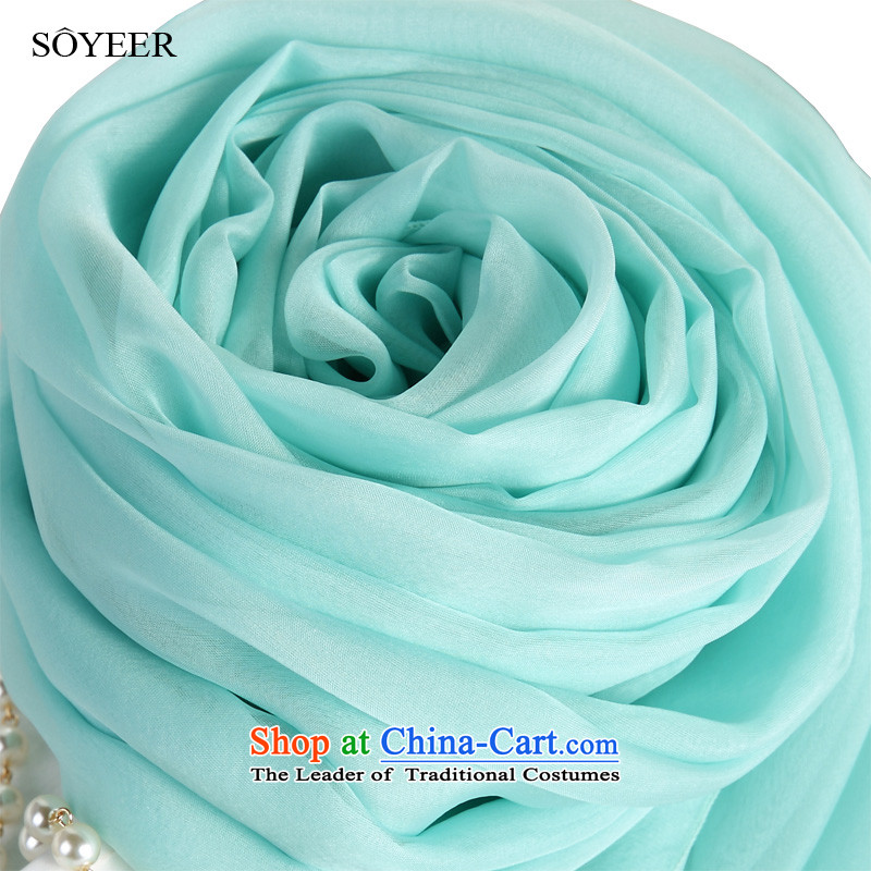 Light blue upscale SOYEER silk scarfs female long spring sauna silk scarves solid color silk scarves shawl light blue recommended size 200_130cm