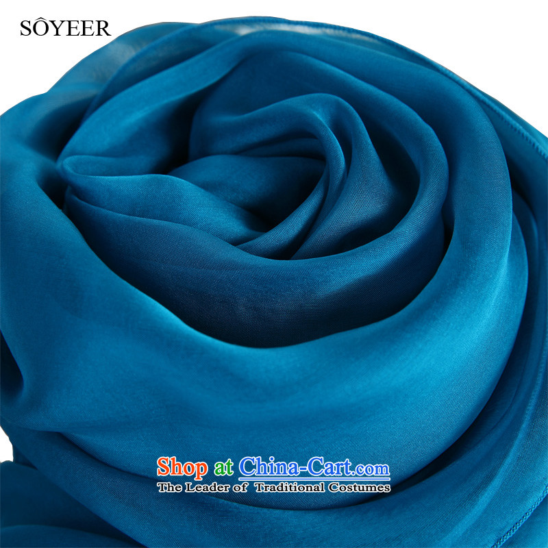The spring and autumn Peacock Blue upscale SOYEER silk scarfs female pure color herbs extract genuine long silk scarf shawl Peacock Blue recommended size 200*130cm