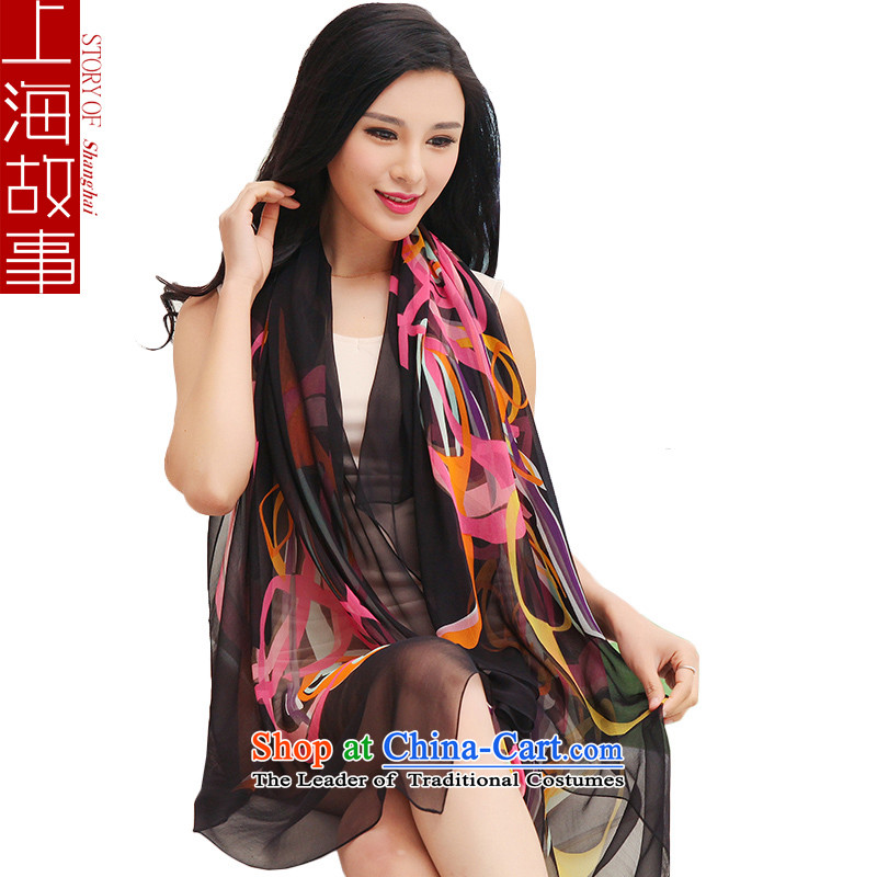 Shanghai Story silk scarves silk scarf Ms. Santos also spring heavyweight gittoes stamp air-conditioning shawl female black