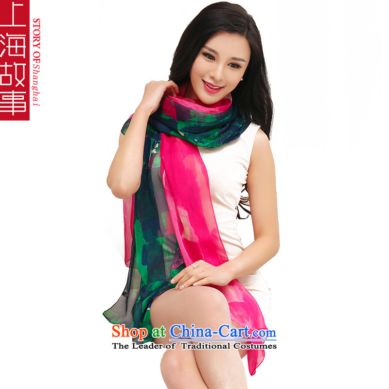 Shanghai Story 2015 spring, in accordance with the new ultra-long dream herbs extract silk scarves, ultra-heavy snow in the dark green red scarves woven