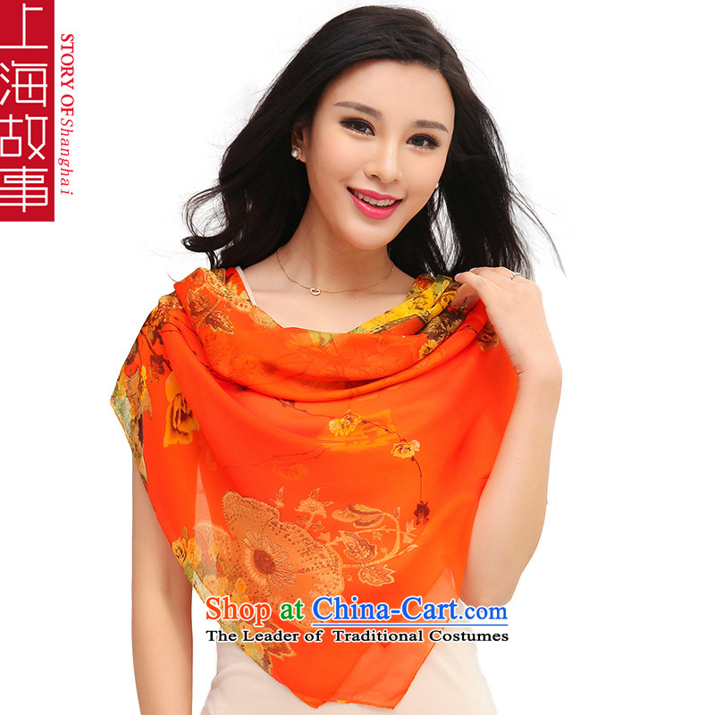 Shanghai Story New Spring Alice floral herbs extract silk scarf and classy, snow filature towel Fancy Scarf Orange