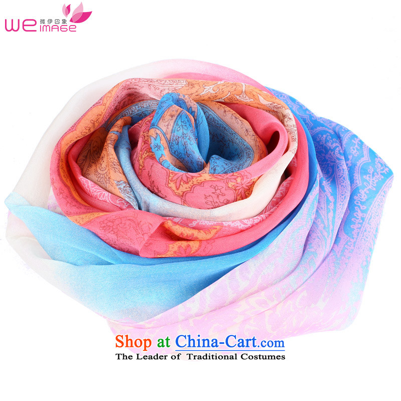 Micro-el impression new women's silk scarves Pure Herbs extract stylish scarf air-conditioning shawl wild stamp silk scarf female blue-red gradient 122