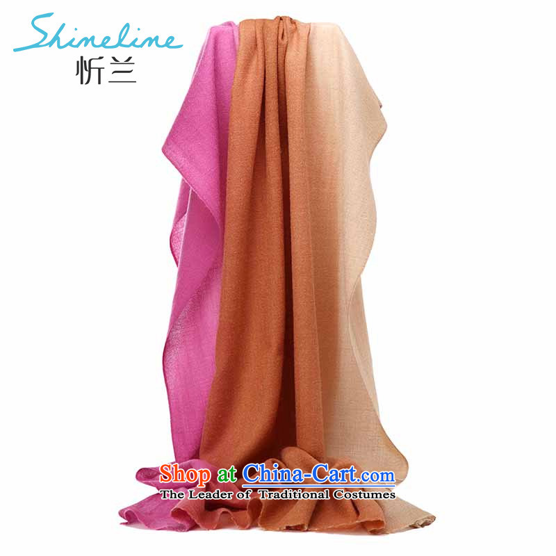 The Central LAN wooler scarf comfortable shawl long scarves tri-color gradient long towel fairy tale of three color yellow coffee