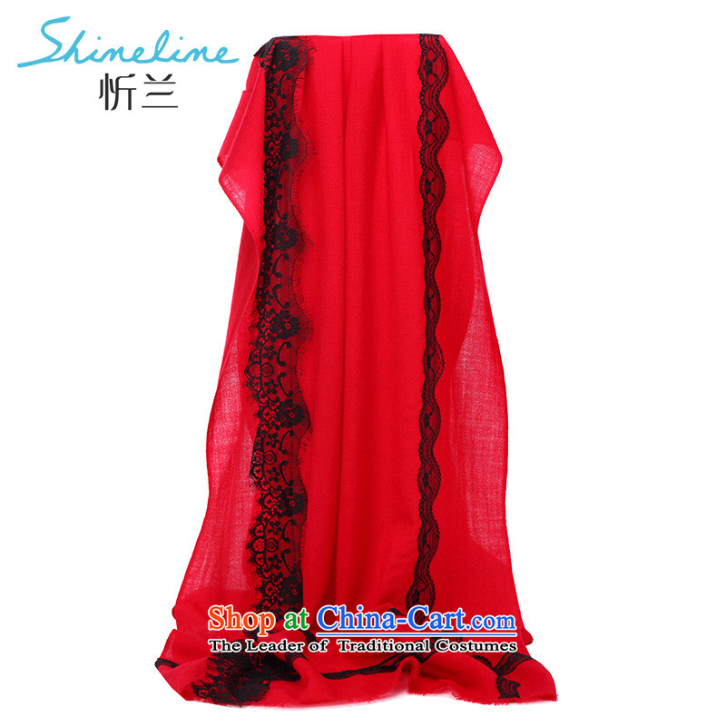 The Central LAN 100% wool scarf long towel long Fancy Scarf to achieve lace red