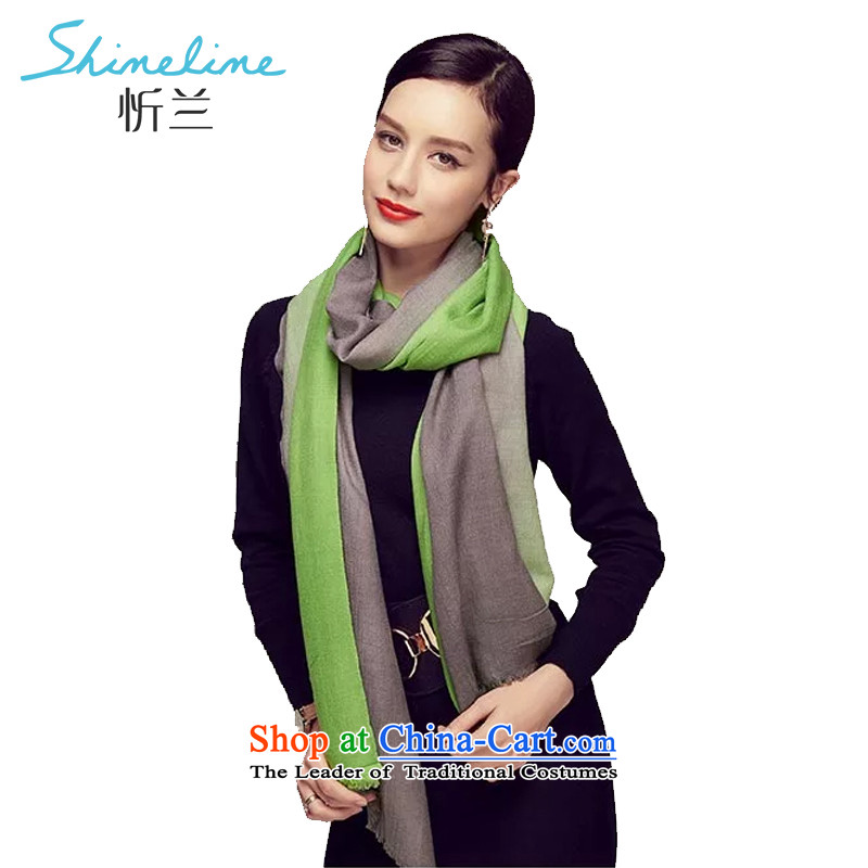 The Central LAN 2015 genuine warm Pure Wool silk scarf scarf stylish long towel spring and autumn wild female shawl irrepressible gradient green gray