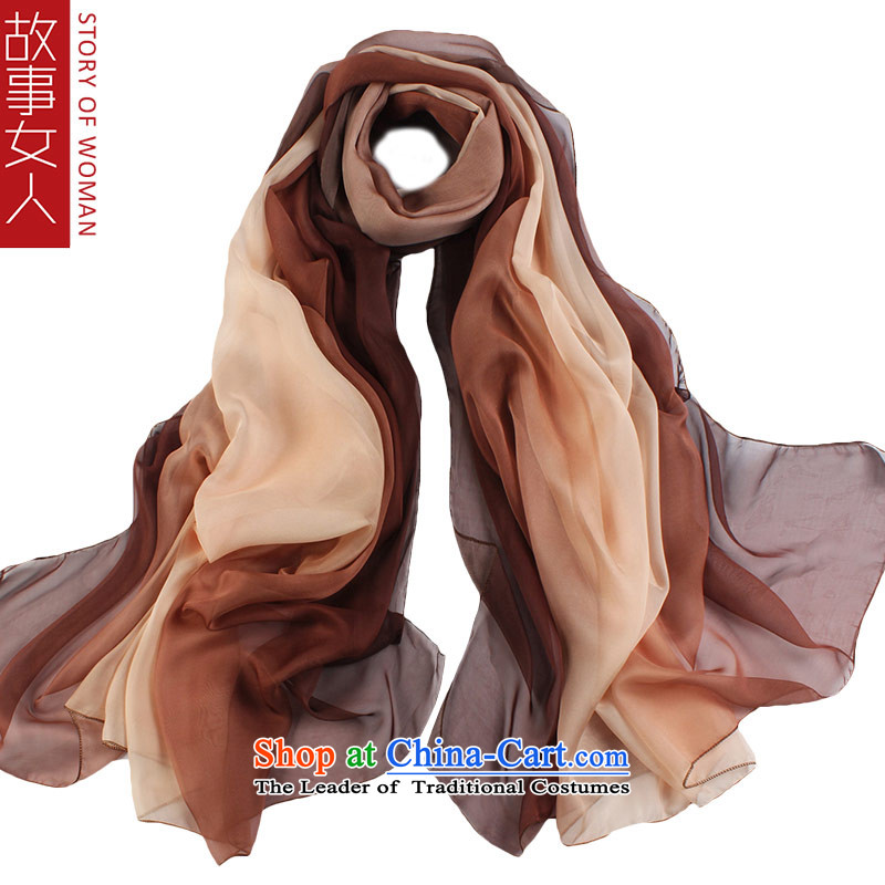 Story woman autumn and winter wild silk scarf warm shawl increase masks in Korean scarf multi-color coffee