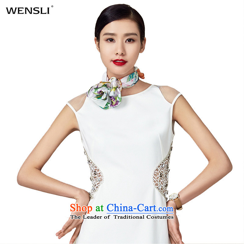 Wensli silk scarf 100 herbs extract silk small towel Vocational Business shawl silk scarf scarf Spring Garden Celadon Colored 53*53cm
