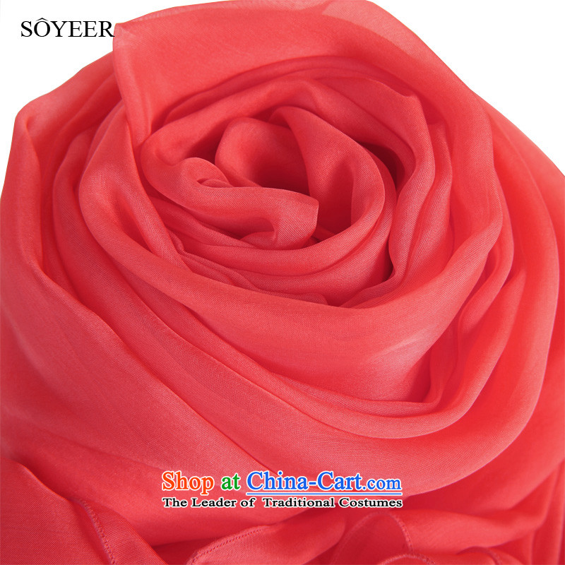 Soyeer Solid Color silk scarf watermelon red silk scarf herbs extract spring and autumn scarves silk upscale female silk scarf masks in shawls4313watermelon red 200*65cm standard