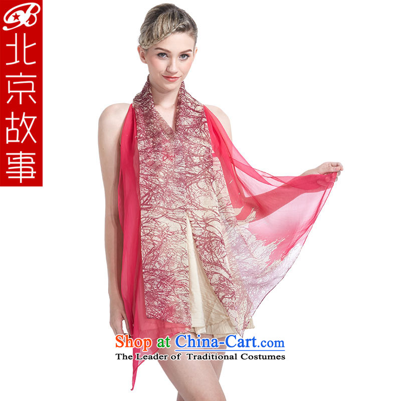 Beijing story silk scarf herbs extract long silk scarfs autumn and winter female shawl : Use two counters in the red