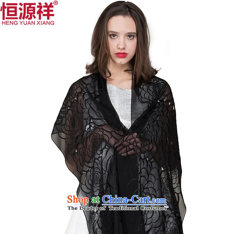 Hengyuan Cheung silk solid color summer silk scarf female sauna silk scarf female thin spend hook sunscreen long large shawl black