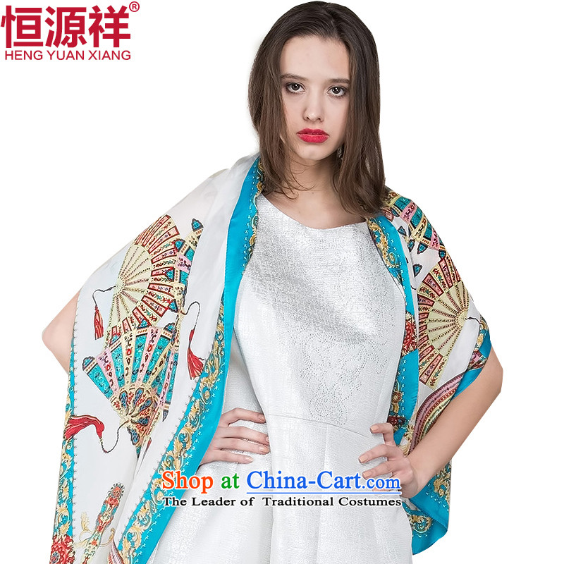 Hengyuan Cheung silk masks in Europe and the female stamp silk scarf herbs extract Ms. long summer sunscreen scarves shawl4# Blue Trim
