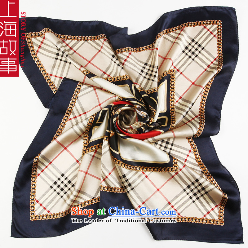 Shanghai Story silk scarf girl in spring and autumn and classy Korean silk scarf herbs extract Fancy Scarf dual-use English latticed navy blue side
