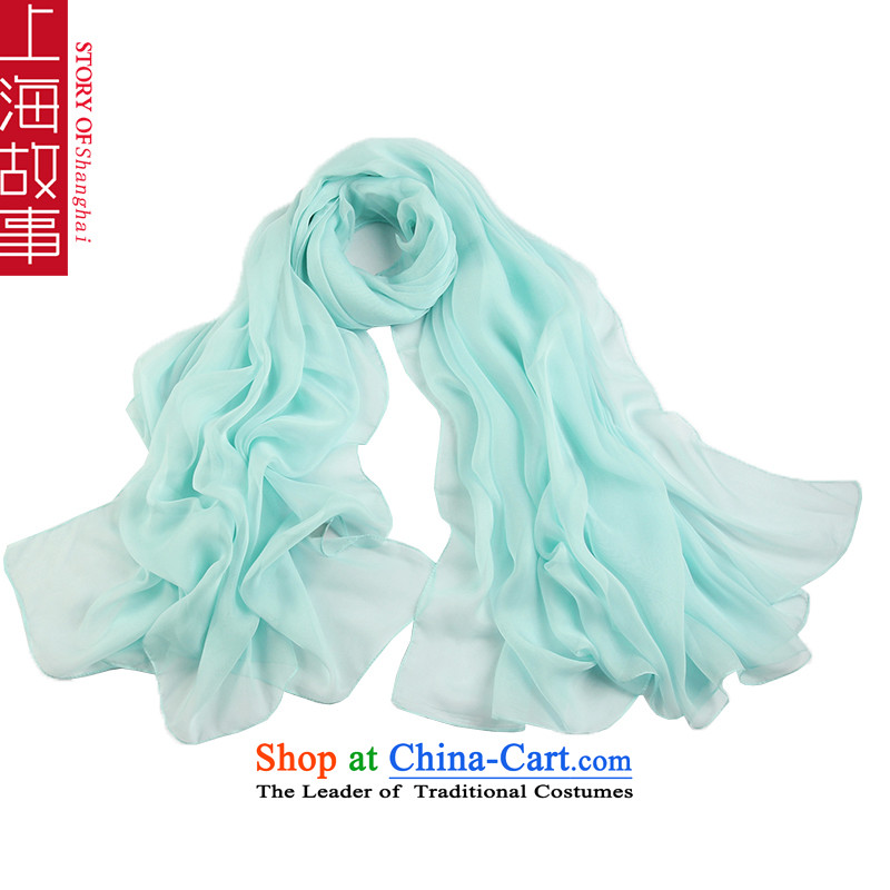 Shanghai Story spring and summer, the new ultra large size of snow spinning color long towel silk scarf water blue