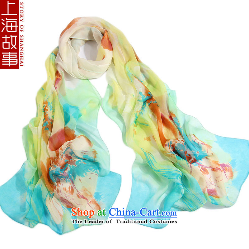 Shanghai Story silk scarves, scarf herbs extract shawl long masks in ripple blue