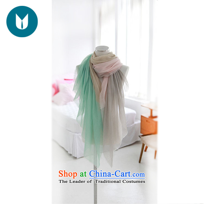 The United States, Land Law, 2015 Spring_Summer silk scarf arts small fresh thin, stitching spell color stripe knocked shawl cotton scarf light green