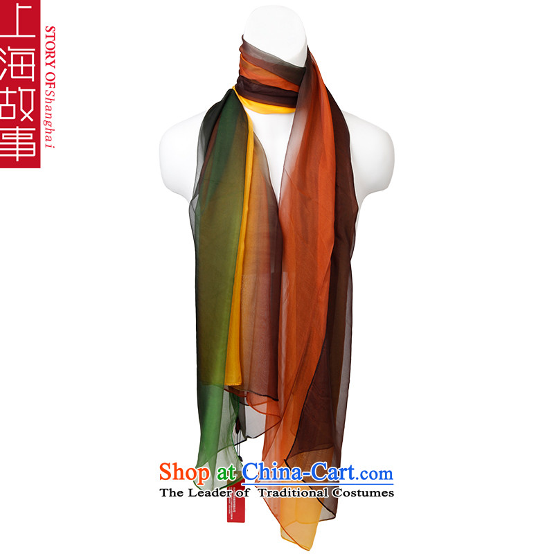 Shanghai Story silk scarves, sauna also silk scarf shawl sunscreen autumn and winter long green curry (masks in large size)