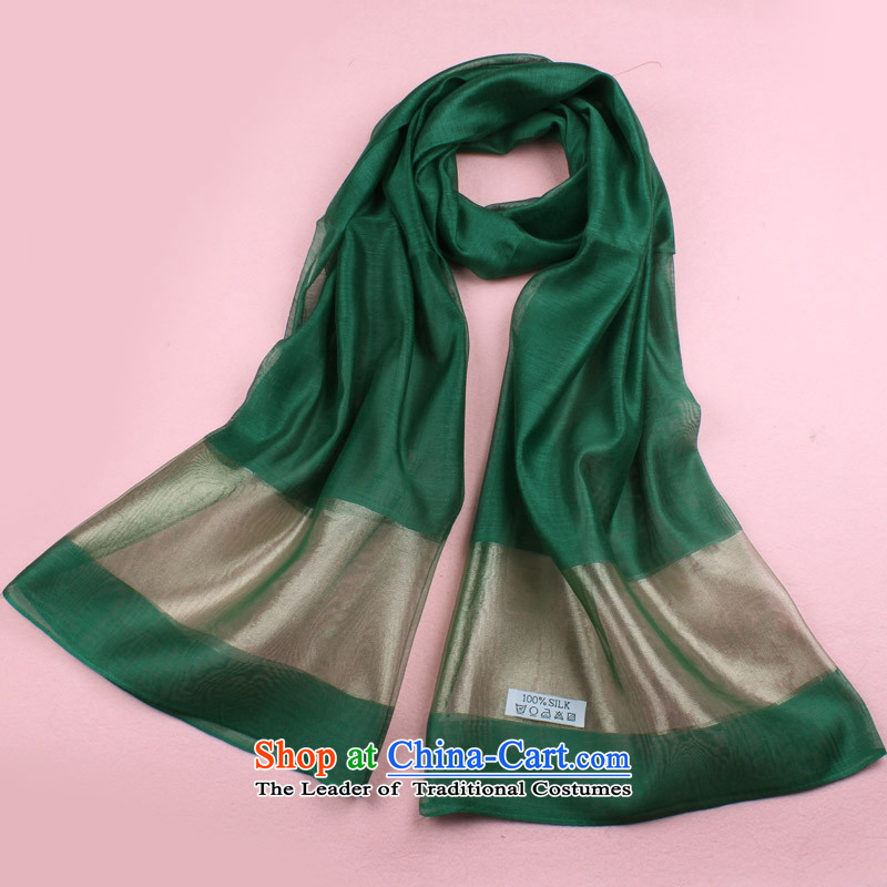 Xin Shu Yun Korean president silk solid color long towel masks in 100 herbs extract sunscreen silk scarf spring and autumn large scarf fourth quarter shawl offer packages available mail dark green
