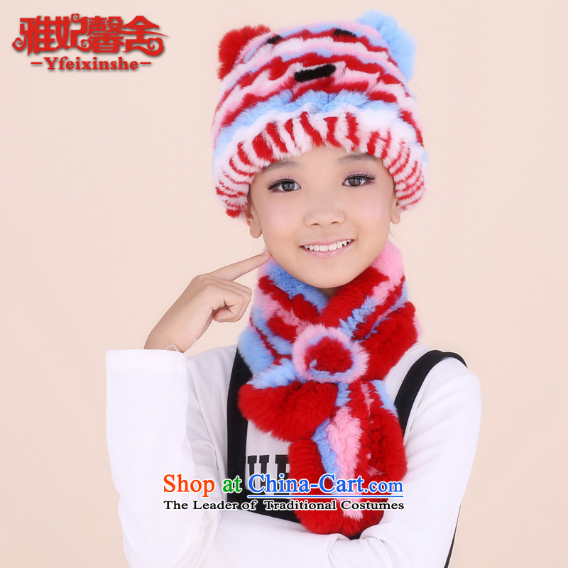 Jacob Princess New 2015 premises include children fur muffler cap kit warm blue and red hat scarf dioxide Mashups