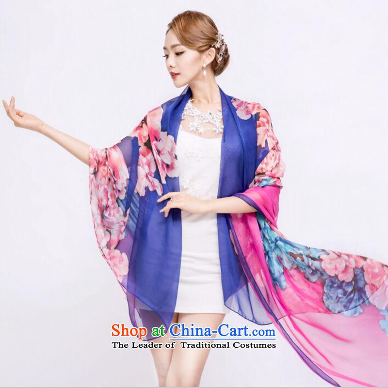 (grassland to sub-health 2015 new spring silk scarf female shawl scarf use two large beach towel stamp thin silk scarf) Purple1.8 and 1.5