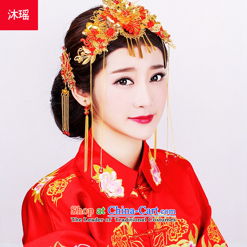 Pang Daomu Yao Feng Crown Head Ornaments bride Chinese style wedding Red Hair Ornaments Sau Wo Service qipao jewelry fine hair ornaments costume kit to ear hair ornaments red with fall arrest orderbrides of jewelry Y0003