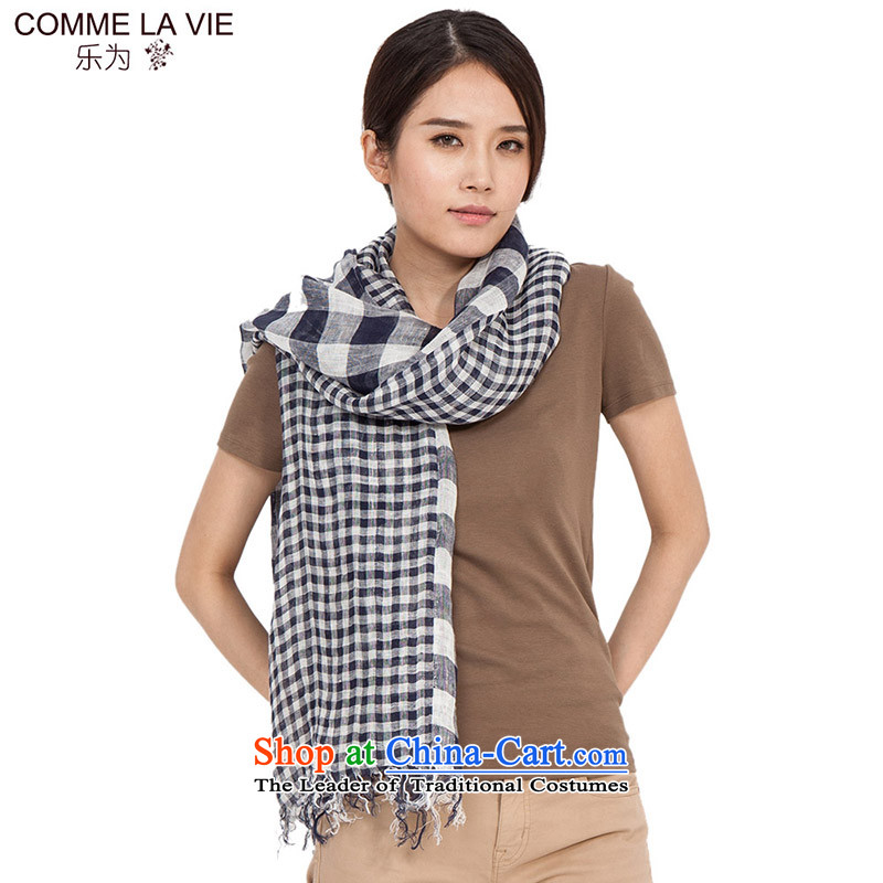 For cotton linen flax masks in the summer of Ms. scarves latticed retro wild spring thin long 2015 new products 15FC131 blue