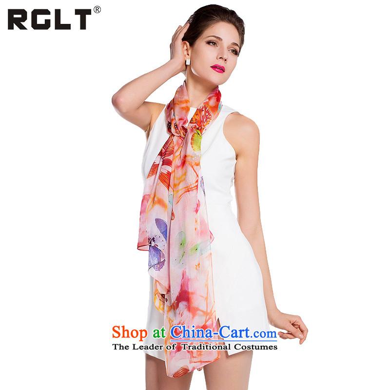 2015 Autumn and Winter Ms. RGLT herbs extract digital print volume manually Ms. edge silk scarves gliding long towel sunscreen shawl scarf Asakusa Moonlight - Orange