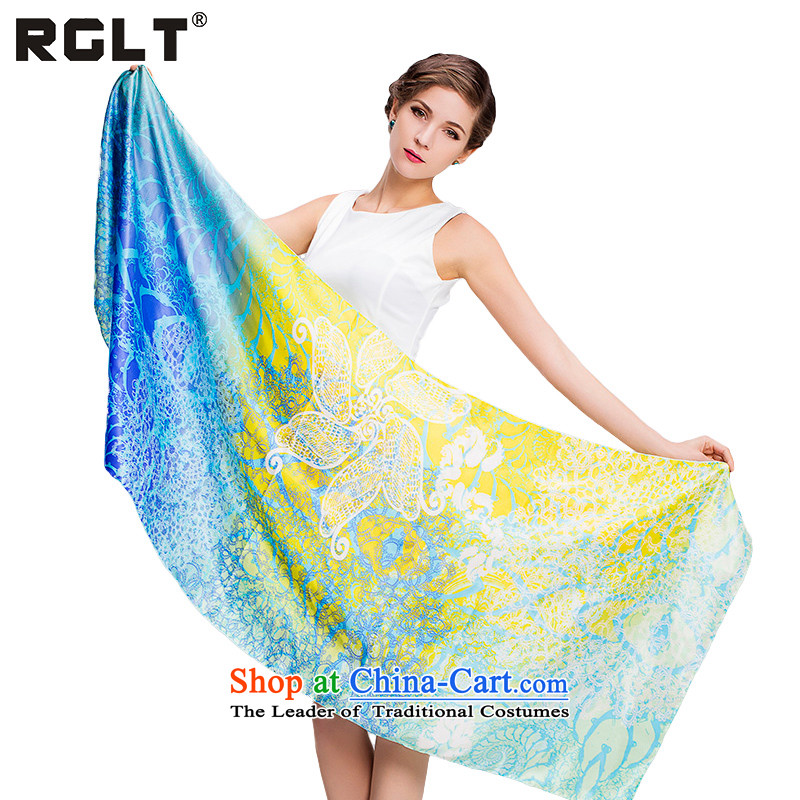 2015 Autumn and Winter Ms. RGLT herbs extract silk scarves pixel of the edge length of a volume manually silk scarf Sleek and versatile scarf air-conditioning shawl two dimly - fantastic blue
