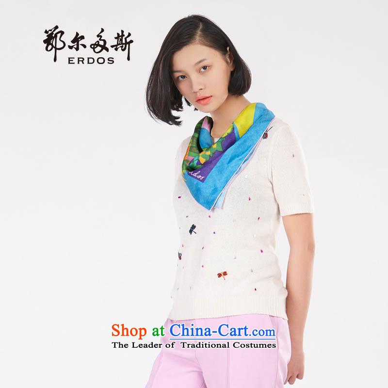 [ New ] Erdos 2015 Spring/Summer stamp silk scarf shawl8570253days iron Blue + Flamingo Pink days iron Blue + Flamingo Pink