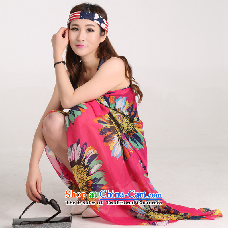 Taxi Dan Xiong silk scarf new Korean Ladies Beach sunscreen colorful Sun Flower Snow filature silk scarf grew up timeout shawl towel in red