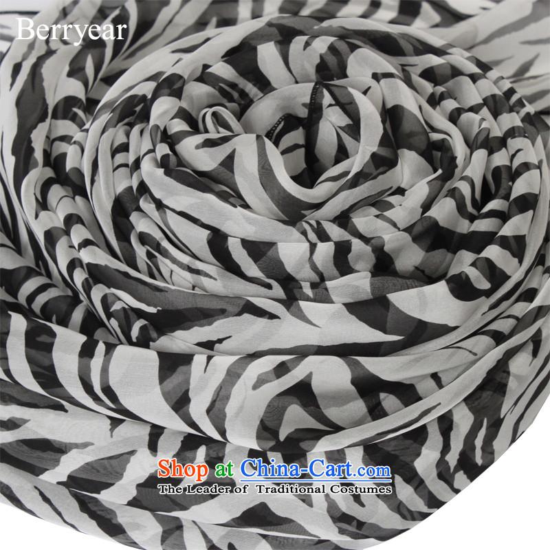 Stylish Western Zebra stripes berryear upscale silk scarfs female spring and autumn long herbs extract silk scarf masks in standard 200*65CM