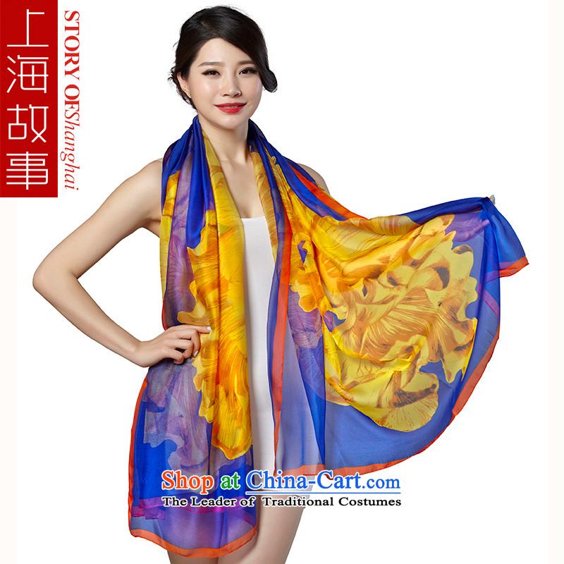 Shanghai Story New Silk Scarf Ms. stylish chiffon shawl scarf Turkic flavor blue