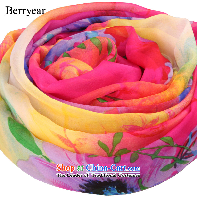 Upscale berryear silk scarves female spring and autumn wild long stylish stamp herbs extract sunscreen shawl200*130CM scarf