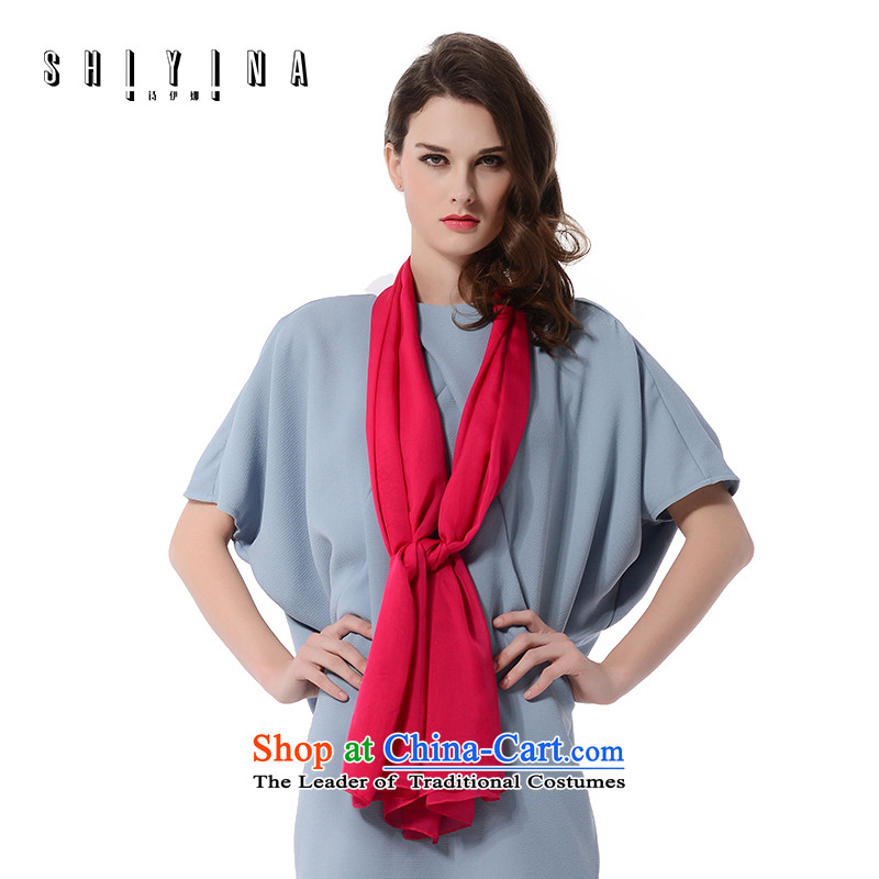 Ms Ina (shiyina) silk scarves female spring and summer long sunscreen scarves solid color solid color herbs extract long towel red