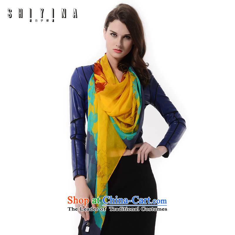 Ms Ina _shiyina_ silk scarf female spring and autumn long silk scarf gifts also sauna silk scarf long towel stylish stamp yellow and green curry