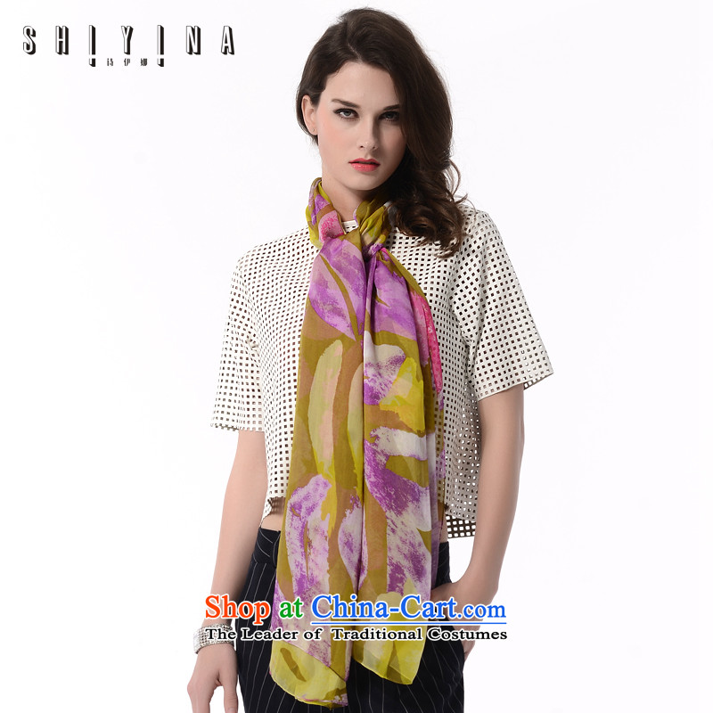 Ms Ina _shiyina_ silk scarf spring and summer 2015 new sauna also silk scarves silk stamp female long wild long towel sunscreen beach towel Purple