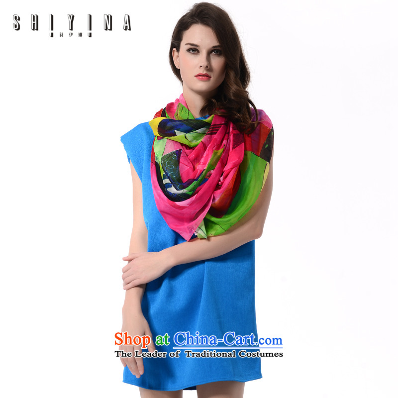 Ms Ina (shiyina) new 2015 Ms. silk scarf herbs extract sunscreen silk scarf gift long stamp shawl female Green Red