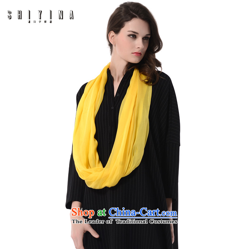 Ms Ina (shiyina) silk scarves, herbs extract scarf 2015 New Pure Color wild masks in yellow