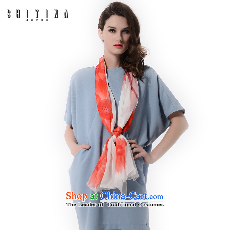 Ms Ina _shiyina_ silk scarves long spring and autumn 2015 Ms. wild herbs extract scarf stylish flowers shawl masks in red and white