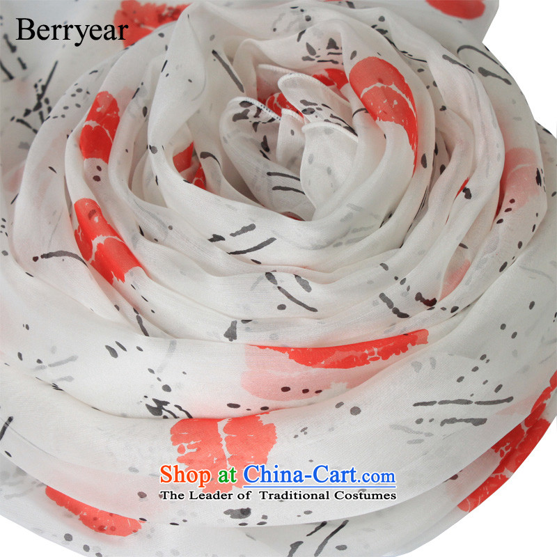 The Korean version of the sexy berryear lips upscale silk scarves female spring and autumn long herbs extract silk scarf shawl 200*65CM standard