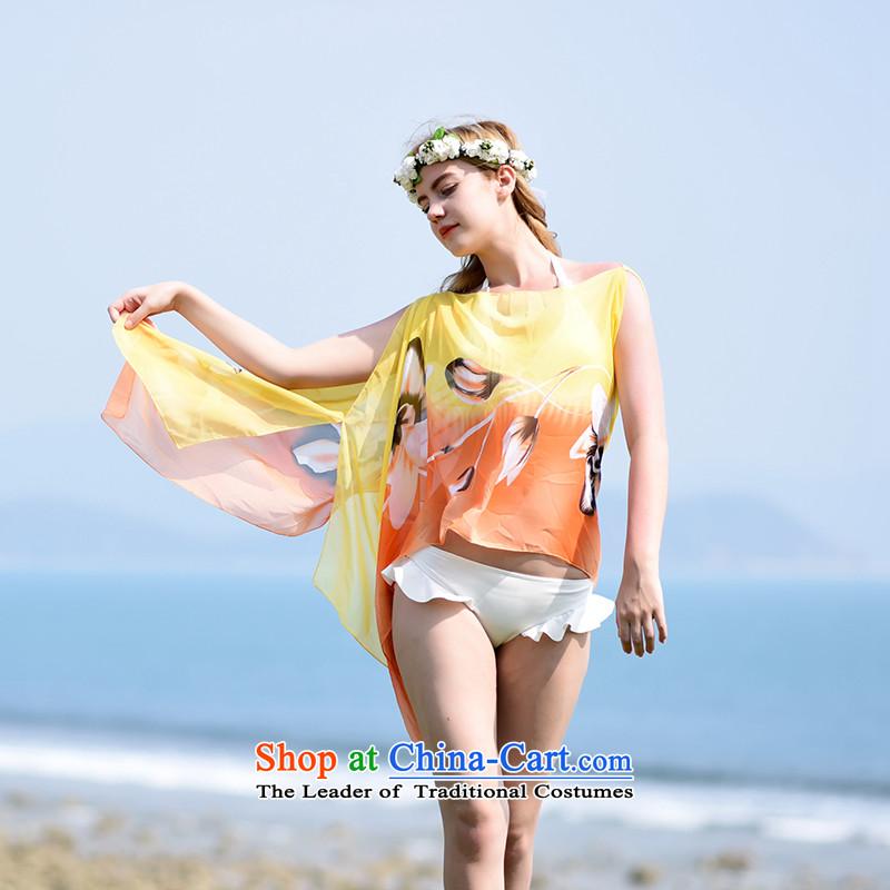 Wind still summer beach yi multi-color Large shawl sea border of large air-conditioning masks in the grand prix shawl female silk scarf yellow orange