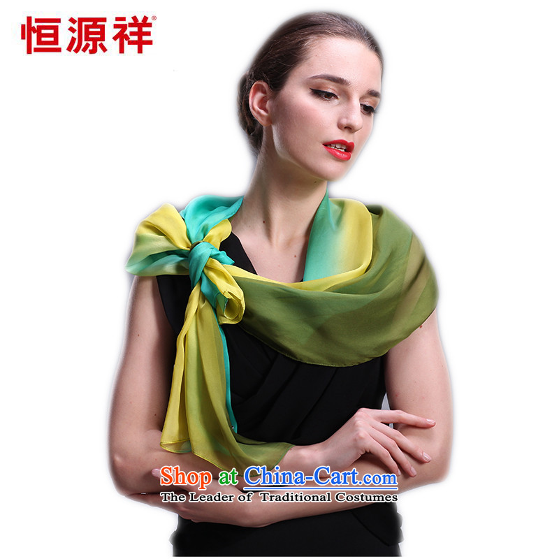 Hengyuan Cheung upscale silk scarfs sauna silk scarves female spring and autumn wild scarf and classy towel Ms. chiffon long towel emerald blue and yellow gradient 051743