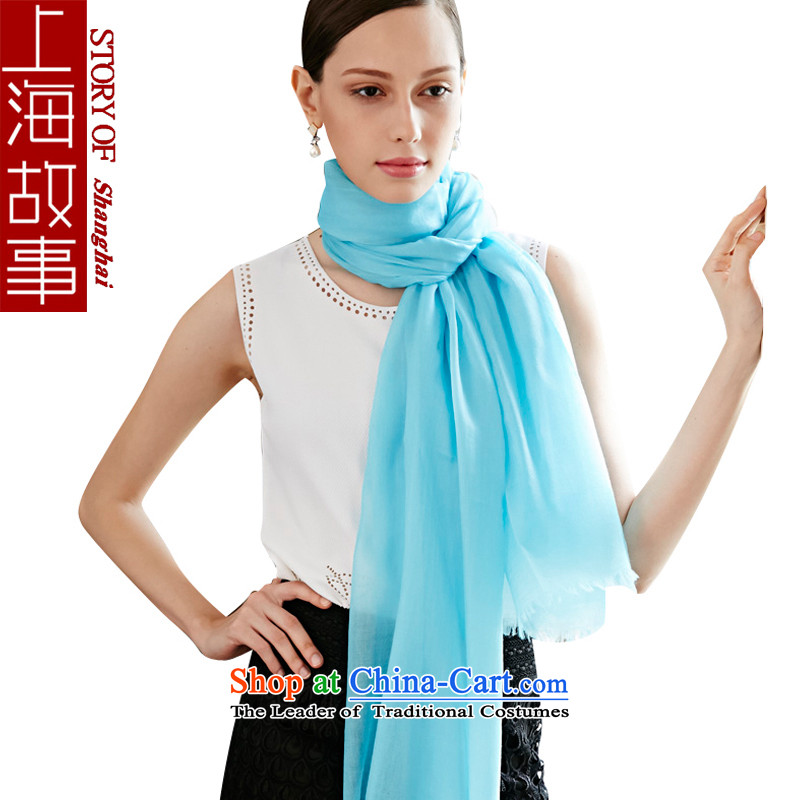 Shanghai Story pashmina shawl pure color, a Korean version of winter cashmere yarn light blue .