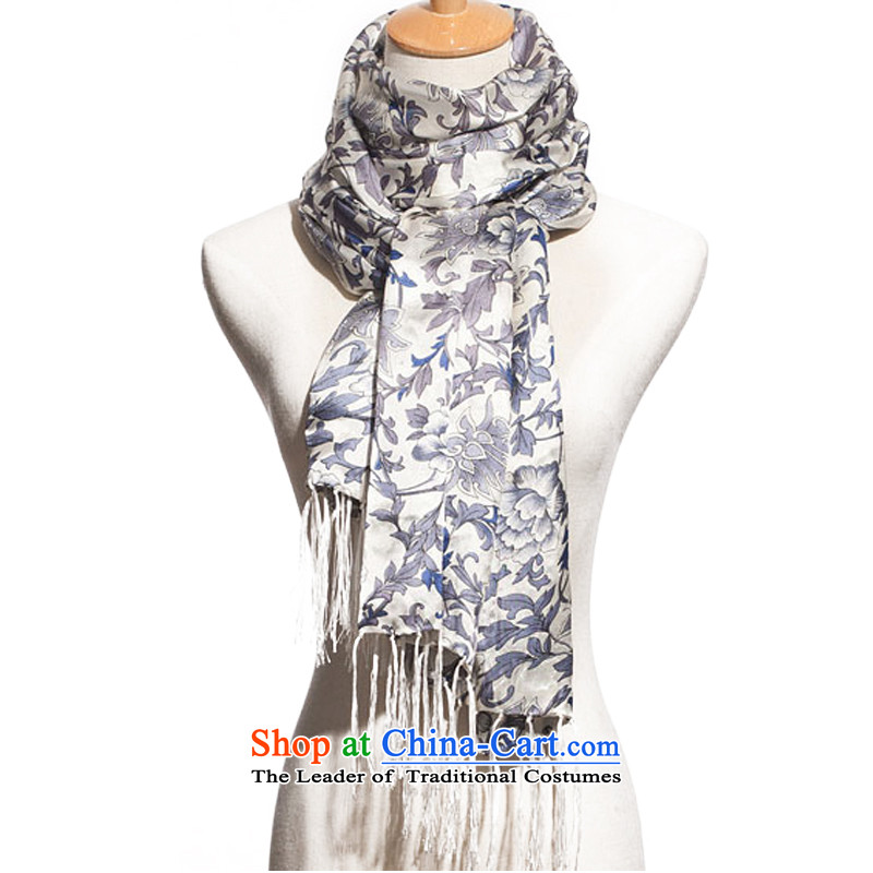 Silk duplex widen porcelain silk scarf scarf longer-su 23101 porcelain