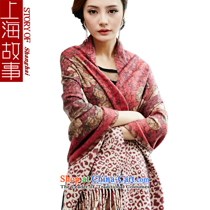 Shanghai Story wooler scarf female winter a shawl long Korean dual-use thick red bottom stamp jungle Mudan