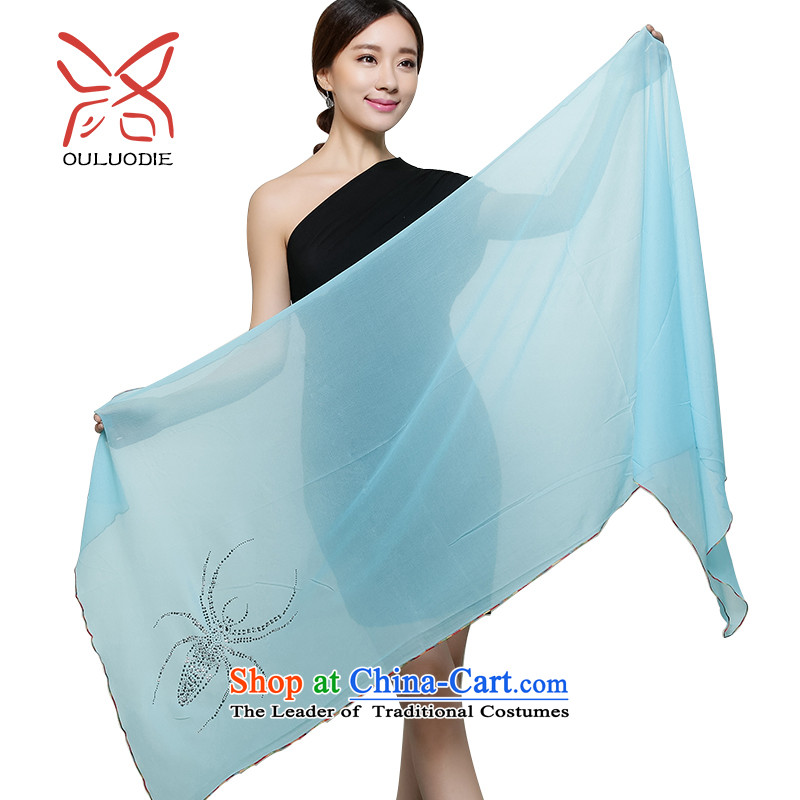 The OSCE, the bow Korean long spring and autumn sun beach towel female hot snow spinning drill pixel color scarf summer with air conditioning to two shawls spider lake blue