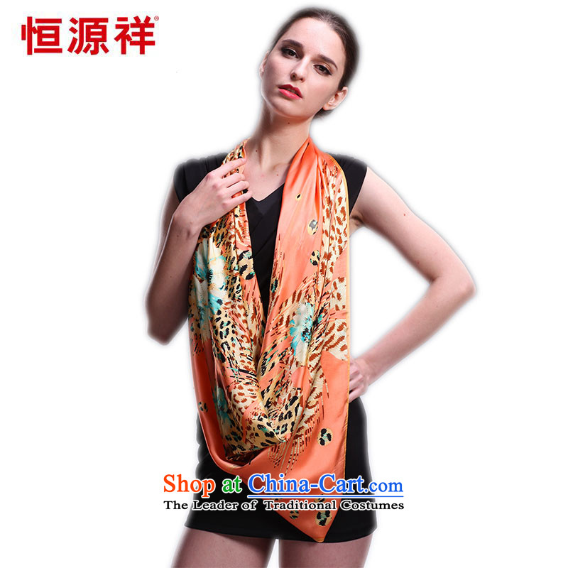 Hengyuan Cheung silk scarf long silk scarfs spring 2015 Ms. upscale satin silk scarfs herbs extract and classy towel shark Leopard - red-orange 0819202