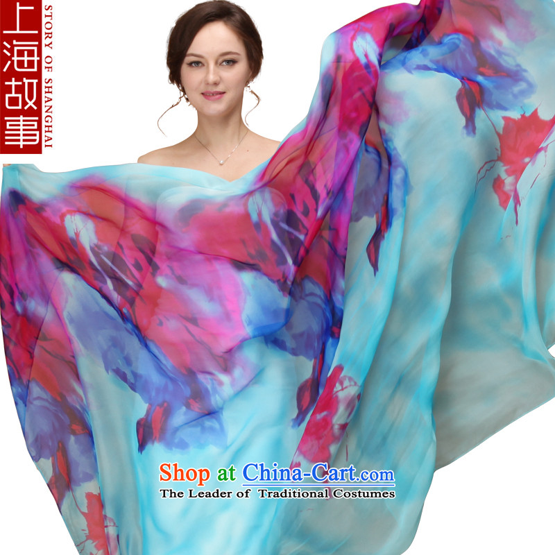 Shanghai Story silk scarves, herbs extract scarf classic stamp shawl long masks in Pik on Zhu Ying Blue